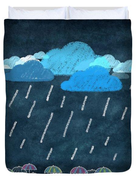 Rainy Day With Umbrella Duvet Cover by Setsiri Silapasuwanchai
