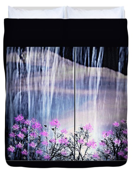 Duvet Cover featuring the digital art Rainy Nights In Georgia by Sherri  Of Palm Springs