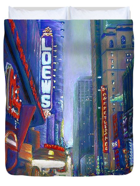 Rainy Reflections In Times Square Duvet Cover by Li Newton