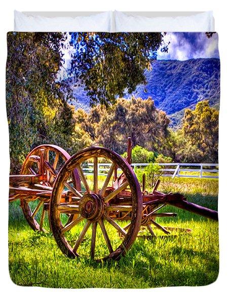 Rancho Oso Wagon Duvet Cover by Bob and Nadine Johnston
