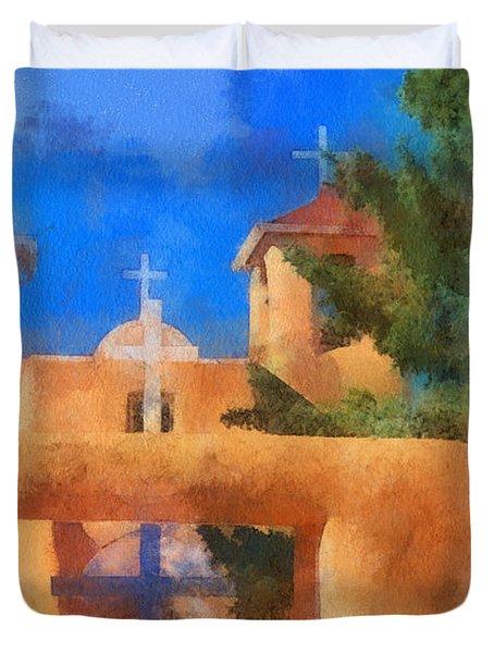 Ranchos Church Gate - Aquarell Duvet Cover by Charles Muhle