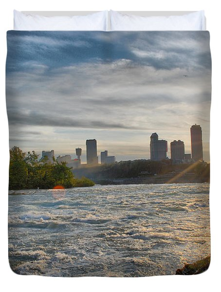Duvet Cover featuring the photograph Rapids Sunset by Michael Frank Jr