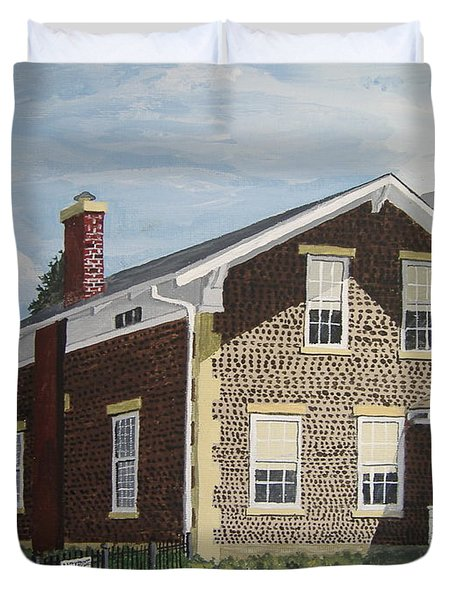 Duvet Cover featuring the painting Rasey House by Norm Starks