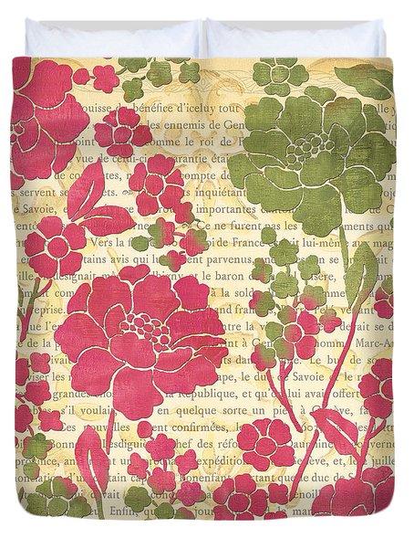 Raspberry Sorbet Floral 2 Duvet Cover by Debbie DeWitt