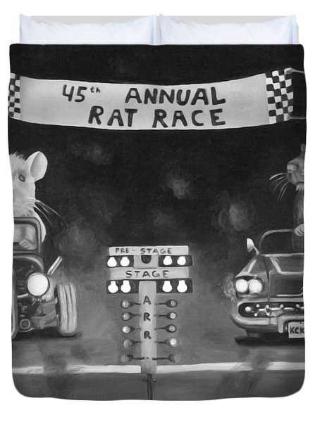 Rat Race In Black And White Duvet Cover by Leah Saulnier The Painting Maniac