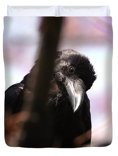 Raven Outside My Window Duvet Cover
