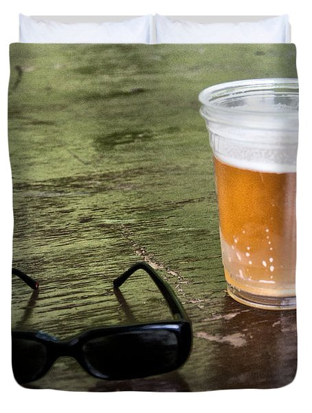 Raybans And A Beer Duvet Cover by Bill Cannon