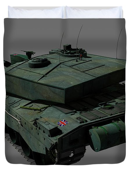 Rear View Of A British Challenger II Duvet Cover by Rhys Taylor