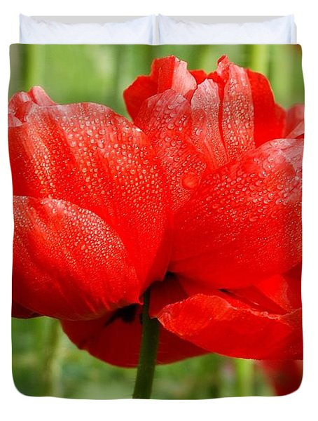Duvet Cover featuring the photograph Red And Green by Fotosas Photography