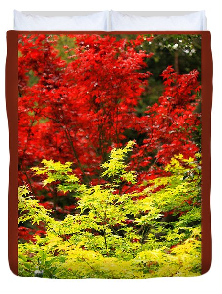 Red And Yellow Leaves Duvet Cover by James Eddy