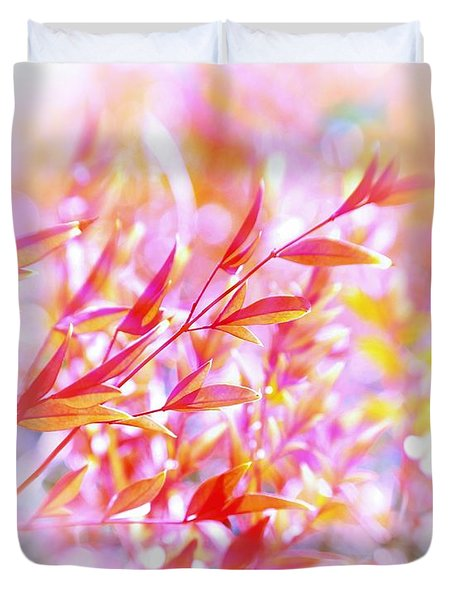 Red And Yellow Leaves Duvet Cover by Judi Bagwell