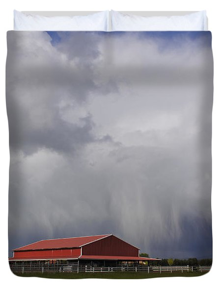 Red Barn And Stormy Sky Duvet Cover by Mick Anderson