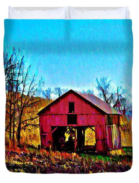 Red Barn On A Hillside Duvet Cover by Bill Cannon