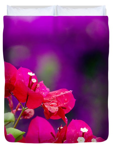 Red Bougainvillaeas Duvet Cover by Ron Dahlquist