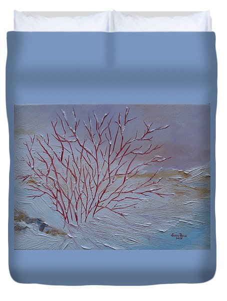 Red Branches Duvet Cover by Judith Rhue