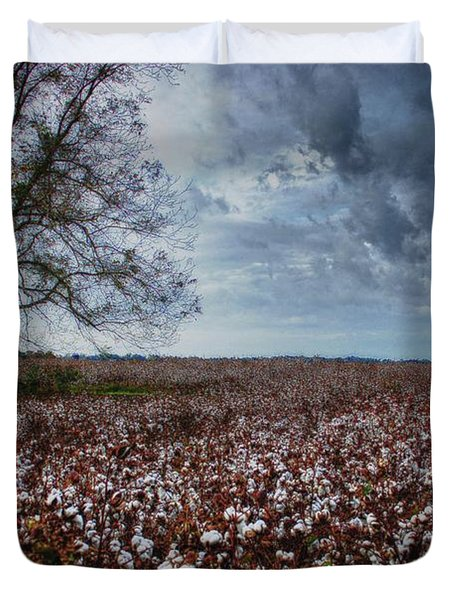 Red Cotton And The Tree Duvet Cover by Michael Thomas