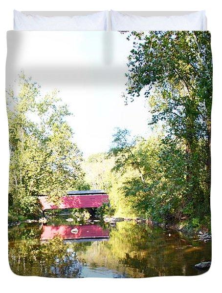Red Covered Bridge Duvet Cover