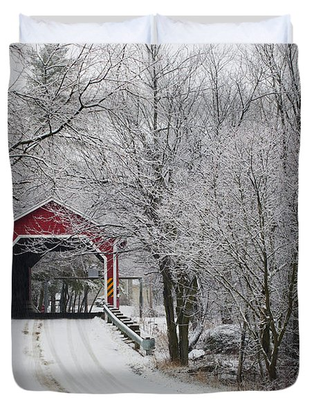 Red Covered Bridge In The Winter Duvet Cover by David Chapman