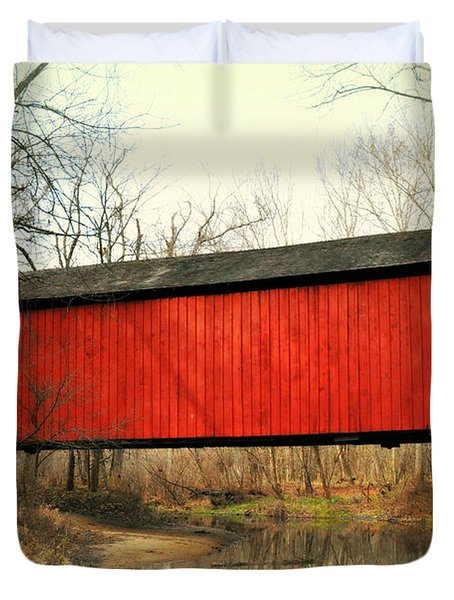 Red Covered Bridge Duvet Cover by Marty Koch