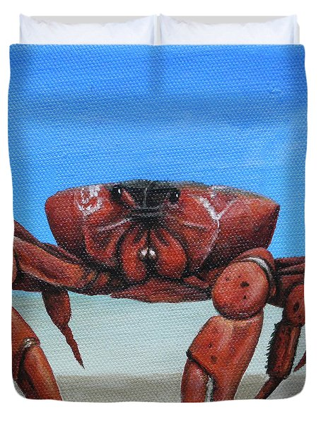 Red Crab Duvet Cover by Cindy D Chinn