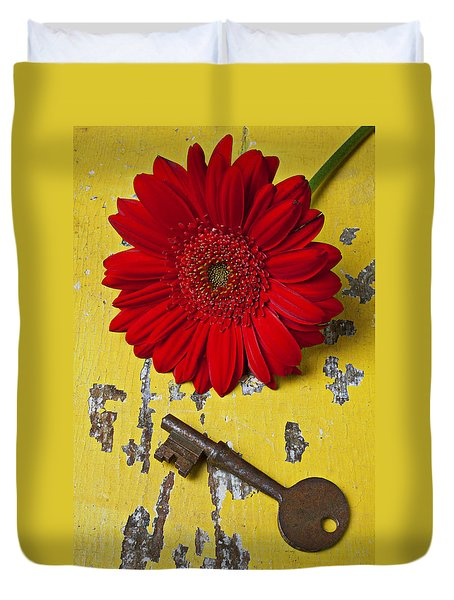 Red Daisy And Old Key Duvet Cover by Garry Gay