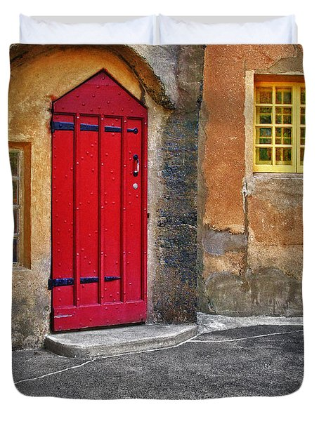 Red Door And Yellow Windows Duvet Cover by Susan Candelario