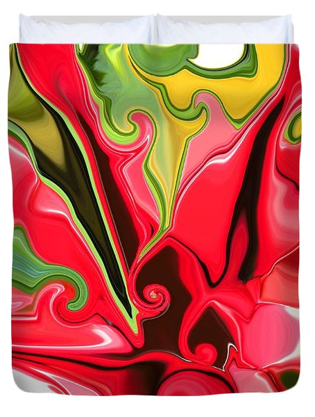 Red Fantasy Lily Duvet Cover