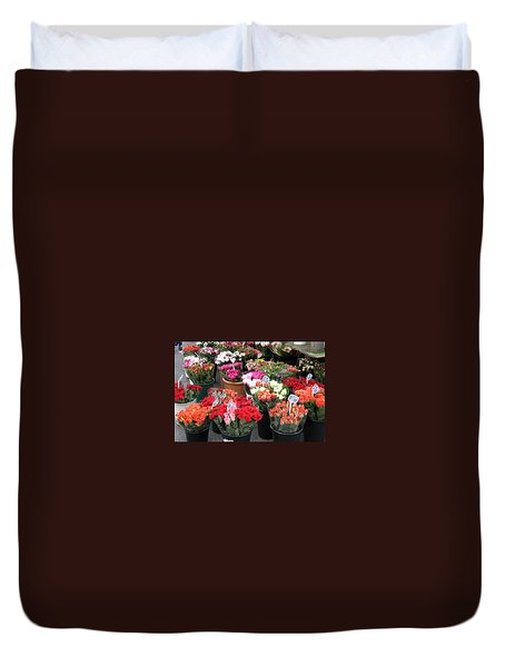 Duvet Cover featuring the photograph Red Flowers In French Flower Market by Carla Parris