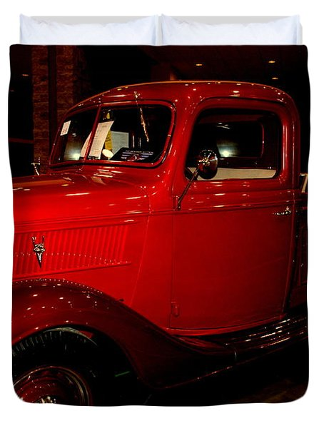 Red Ford Truck Duvet Cover by Susanne Van Hulst