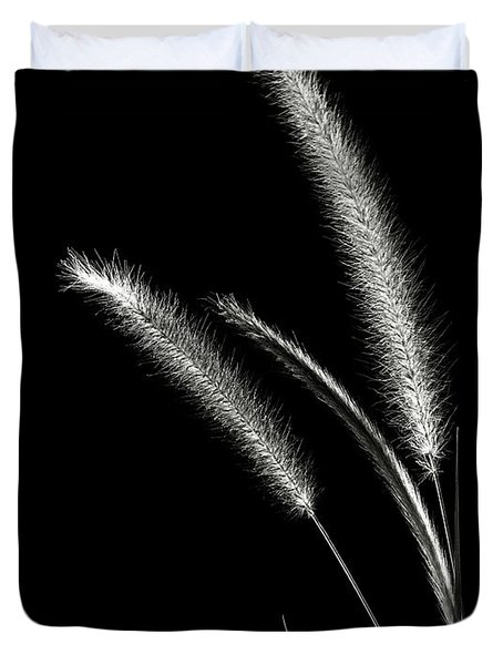 Red Fountain Grass In Black And White Duvet Cover
