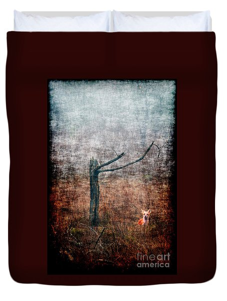 Duvet Cover featuring the photograph Red Fox Under Tree by Dan Friend