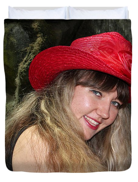 Red Hat And A Blonde Duvet Cover by Mariola Bitner