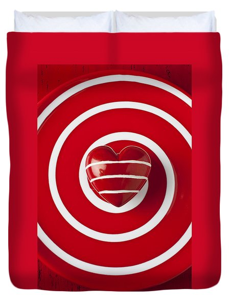 Red Heart Soft Stone Duvet Cover by Garry Gay
