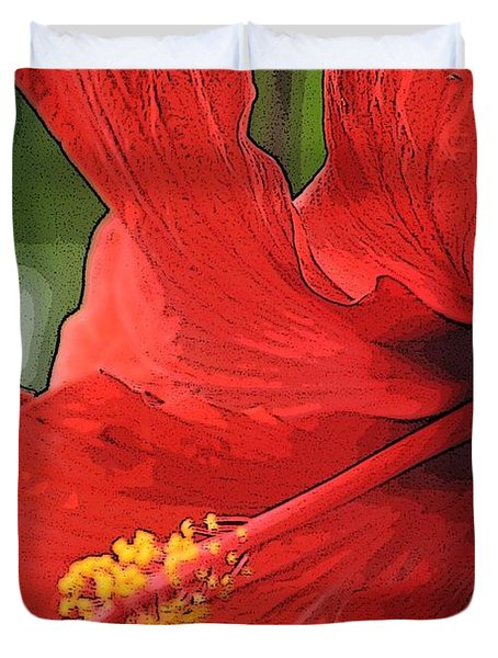 Duvet Cover featuring the photograph Red Hibiscus by Donna  Smith