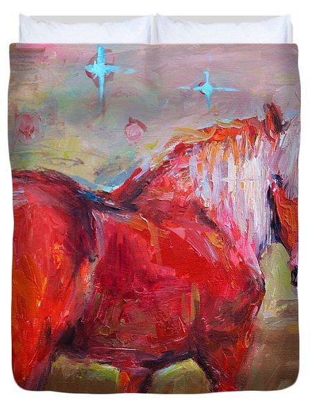 Red Horse Contemporary Painting Duvet Cover by Svetlana Novikova