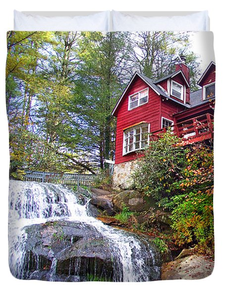 Red House By The Waterfall 2 Duvet Cover