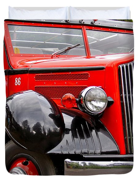 Red Jammer Tour Bus Glacier National Park Duvet Cover by Karon Melillo DeVega