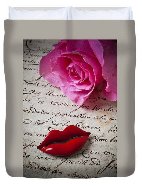 Red Lips On Letter Duvet Cover by Garry Gay