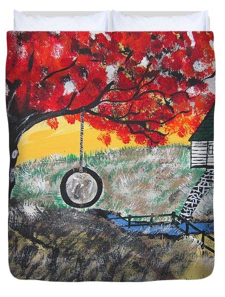 Red Maple  Swing Duvet Cover