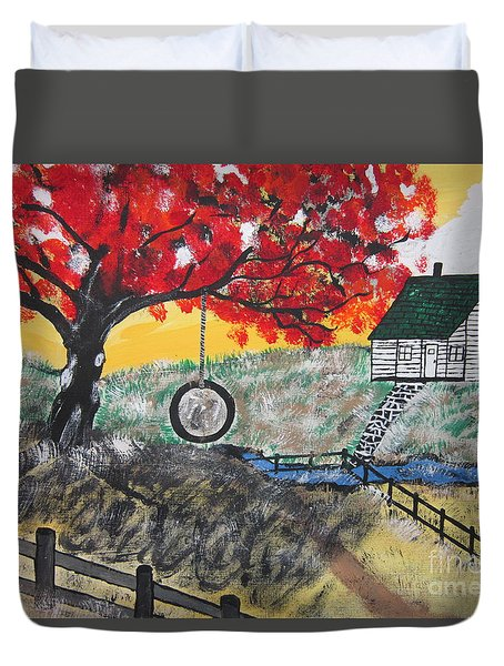 Duvet Cover featuring the painting Red Maple  Swing by Jeffrey Koss