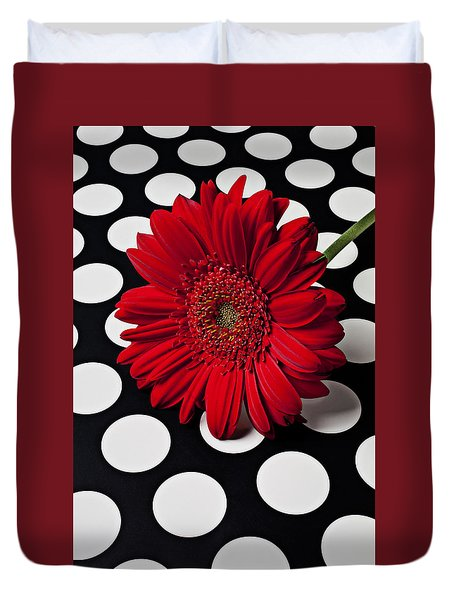 Red Mum With White Spots Duvet Cover by Garry Gay