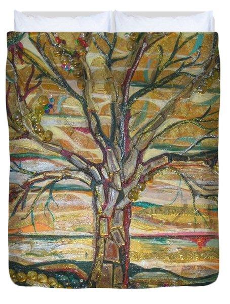 Red Oak Waiting Duvet Cover