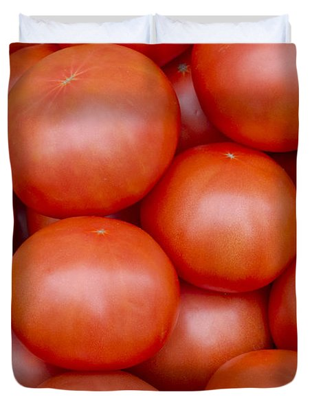 Red Ripe Tomatoes Duvet Cover by John Trax