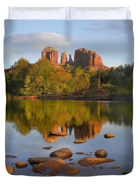 Red Rock Crossing Arizona Duvet Cover by Tim Fitzharris