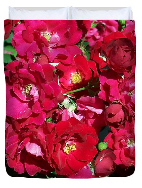 Red Rose Bush Duvet Cover