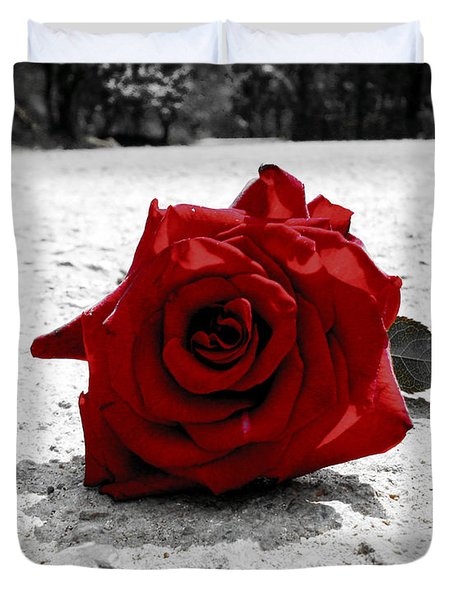 Red Rose On The Road Duvet Cover by Sumit Mehndiratta