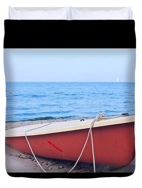 Red Sailboat On The Beach Duvet Cover