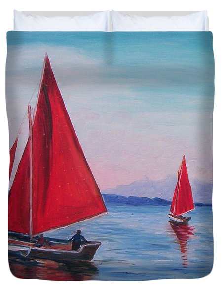 Duvet Cover featuring the painting Red Sails On Irish Coast by Julie Brugh Riffey