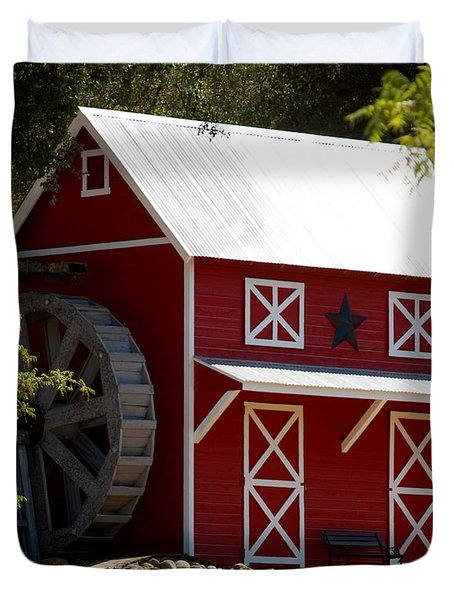 Red Star Barn Duvet Cover by Holly Blunkall