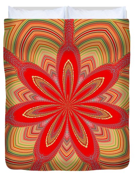 Duvet Cover featuring the digital art Red Star Brocade by Alec Drake